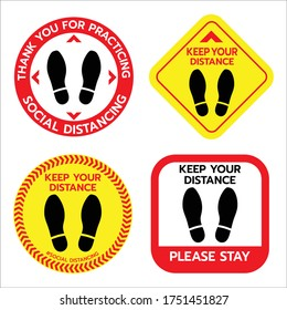 Thanks For Practicing Social Distancing Floor sticker Sign set,Social distancing. Footprint sign. Keep the 6 feet or 1-2 meter distance apart. Coronavirus epidemic protective.-