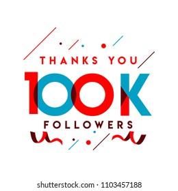 Thanks You 100k Followers Vector Template Design Illustration