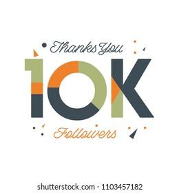 Thanks You 10k Followers Vector Template Design Illustration