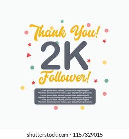 Thanks you 2k follower, Online social media achievement banner design