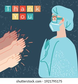 thanks you, hands clap the doctor character vector illustration