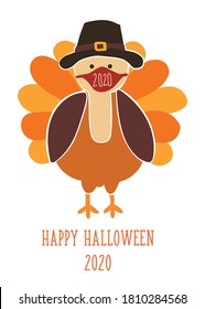 Thanksgiving 2020 greeting card template. Fully editable vector illustration. Turkey wearing a face mask. Stay home, social distancing design. Flyer, poster, greeting card, social media post