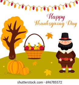 Thanksgiving autumn background with funny pilgrim, pumpkins, landscape and text
