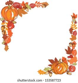Thanksgiving autumn frame vector illustration