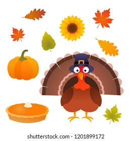 Thanksgiving autumn isolated vector set with turkey bird with pilgrim hat, pie, pumpkin, leaves and sunflower