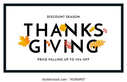 Thanksgiving autumn sale poster for fall season discount promo offer and 70 percent off for autumnal shopping. Vector autumn maple and oak leaf foliage for store leaflet or sale web banner background.