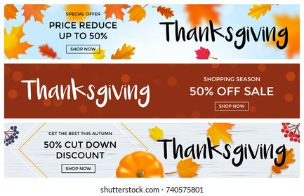 Thanksgiving autumn sale web banners for fall season discount promo offer template background. Vector pumpkin and maple leaf design for price off shopping season of calligraphy Thanksgiving sale