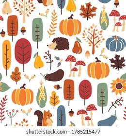 Thanksgiving Autumn seamless vector pattern. Repeating fall background hedgehog, squirrel corn tree pumpkin pear sunflower acorn. Harvest festival. Use for fabric, Thanksgiving decor, fall, autumn