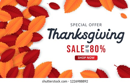 Thanksgiving Background with leaves for shopping sale or promo poster and frame leaflet or web banner. vector eps 10