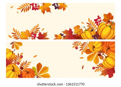 Thanksgiving background with space for text, horizontal banners with autumn leaves and pumpkins, berries of rowan and aronia vector Illustration
