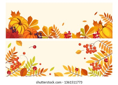 Thanksgiving background with space for text, horizontal banners with orange pumpkins, leaves of maple and rowan vector Illustration
