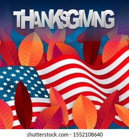 Thanksgiving banner. USA national flag. Red and orange fall leaves on black and white background. realistic vector illustration with lettering.