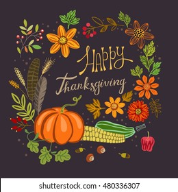 Thanksgiving banner with vegetables and flowers