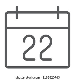 Thanksgiving calendar line icon, holiday and november, day sign, vector graphics, a linear pattern on a white background, eps 10.