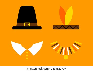 Thanksgiving Card With Abstract Pilgrim And Native American Orange