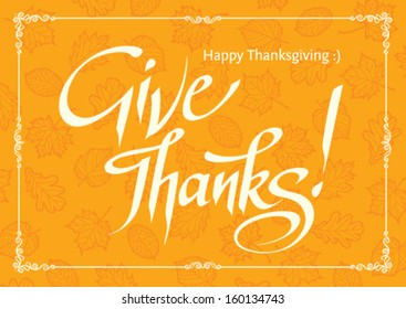 thanksgiving card on yellow background with pattern of leaves