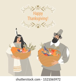 Thanksgiving card with pilgrim and native american characters holding baskets with vegetables. Cute characters in a flat style in historical costumes.