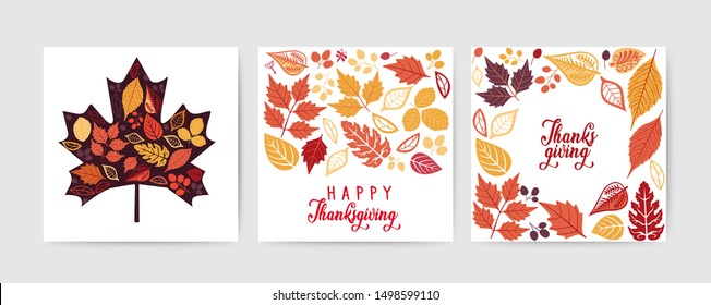 Thanksgiving cards collection. Autumn leaves cards set isolated on white background. Vector Thanksgiving day invitation and greeting card, flyer, banner, poster templates. Hand drawn symbols, cute