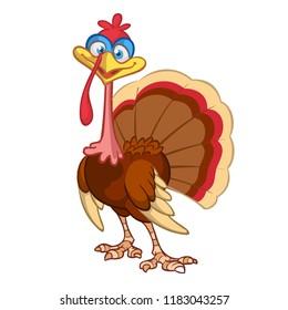 Thanksgiving Cartoon Turkey bird. Vector illustration of funny turkey character clipart