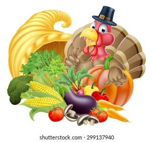 Thanksgiving cartoon turkey bird wearing a pilgrim or puritan thanksgiving hat with cornucopia full of produce
