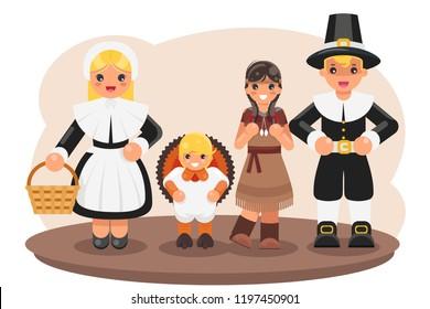 Thanksgiving children turkey pilgrim indian costumes flat cartoon design vector illustration