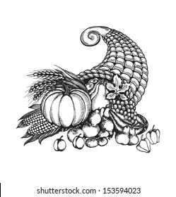 Thanksgiving cornucopia full of harvest fruits and vegetables in a sketch style. Autumn card isolated on white background. Vector illustration.