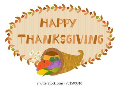 Thanksgiving Cornucopia Sign - Decorative Happy Thanksgiving sign with Cornucopia. Eps10