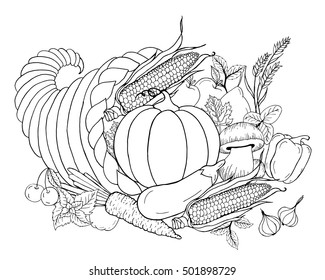 Thanksgiving cornucopia with vegetables. Horn of plenty. Black white hand drawn vector illustration. Traditional symbol of autumn. Sketch for coloring page, decoration, card, poster