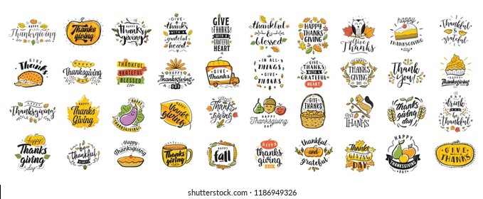 Thanksgiving day. 40 in 1. Logo, text design. Typography for greeting cards and posters. Give thanks.