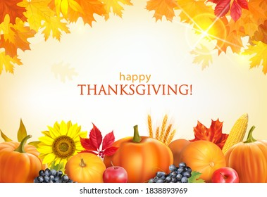 Thanksgiving Day background with pumpkins, fruits and autumn leaves border. Vector illustration.