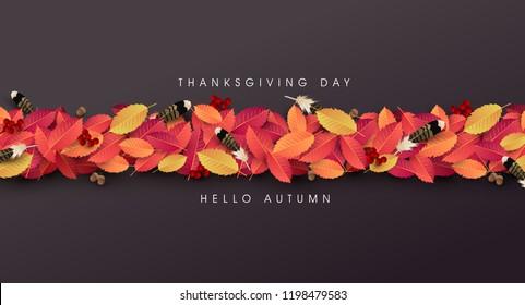 Thanksgiving day banner background. Celebration quotation for card.vector illustration.Autumn season happy Thanksgiving inscription.
