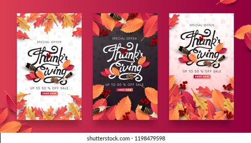 "Thanksgiving day banner background. Celebration quotation for card.vector illustration.Autumn season inscription.calligraphy of ""Thanksgiving"""