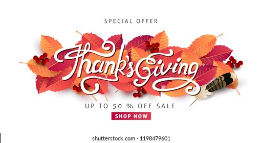 """Thanksgiving day banner background. Celebration quotation for card.vector illustration.Autumn season inscription.calligraphy of """"Thanksgiving"""""""