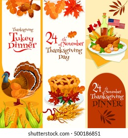 Thanksgiving Day banners set. Vector decoration banners design for invitation card to thanksgiving traditional dinner with text and elements of turkey, cornucopia, autumn harvest abundance background