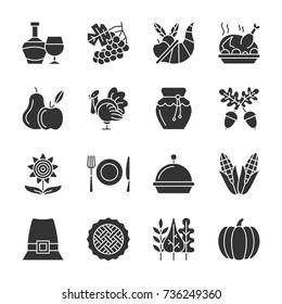 Thanksgiving day black silhouette icon set. Monochrome flat design symbol collection. Pumpkin, cornucopia, turkey, vegetables, holiday symbol. Harvest season sign. Vector illustration