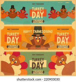 Thanksgiving Day Card. Retro Posters Set with Cartoon Turkey. Vector Illustration.