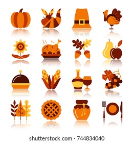 Thanksgiving day color silhouette with reflection icon set. Monochrome flat design vector illustration symbol collection. Simple graphic pictogram pack. Web, print, card, poster, tag, banner concept