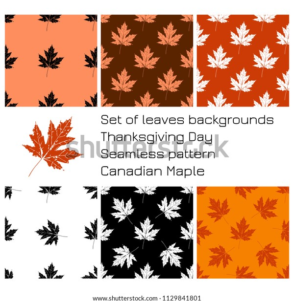 Thanksgiving Day. The concept of a national holiday in Canada. 8 October. Set of backgrounds of maple leaves, seamless patterns