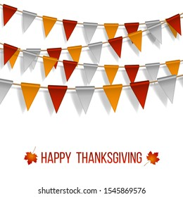Thanksgiving Day, flags garland on white background. Garlands of red white yellow flags and two maple autumn leaves. Vector illustration.
