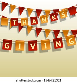 Thanksgiving Day, flags garland on white background. Garlands of red yellow flags. Vector illustration.