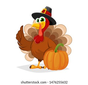 Thanksgiving Day. Funny cartoon character turkey bird in pilgrim hat stands with pumpkin. Vector illustration