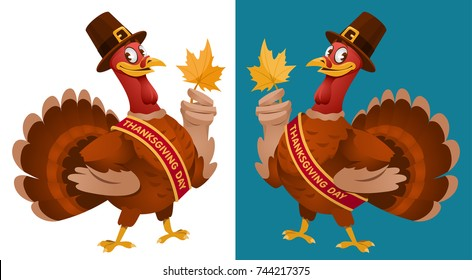 Thanksgiving Day. Funny cartoon turkey in a pilgrim hat keeps the autumn leaf. Vector illustration. On dark background and isolated on white. Elements is grouped. No transparent objects.
