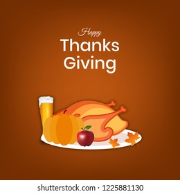 Thanksgiving day. Greeting card with , apples, berries, fruits, vegetables. Vector poster.