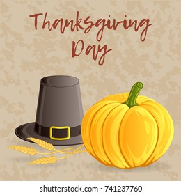 Thanksgiving day greeting card, banner or background with pumpkin, pilgrim hat and wheat ears. Hand drawn style. Vector illustration for your design.