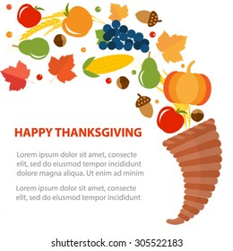 Thanksgiving day greeting card with cornucopia (horn of plenty), fruits, nuts, vegetables, wheat, vector illustration