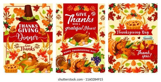 Thanksgiving Day greeting cards or posters for traditional autumn holiday festival. Vector design of turkey, pumpkin and berry fruits harvest in cornucopia, pilgrim hat in autumn maple leaves