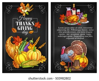 Thanksgiving Day greeting holiday banners and posters. Thanksgiving color sketch turkey symbol, cornucopia with plenty of food. Family celebration dinner meal with autumn harvest, vine
