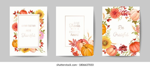 Thanksgiving Day greeting, seasonal fall invitation card, flyer, banner, poster template. Autumn pumpkin, flower, leaves, floral design elements. Vector illustration Set