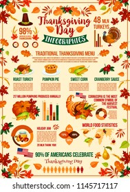 Thanksgiving Day holiday infographic design. Autumn harvest festival celebration graph and festive dinner food statistic chart with pumpkin, turkey and pie, pilgrim hat, fallen leaf and cornucopia