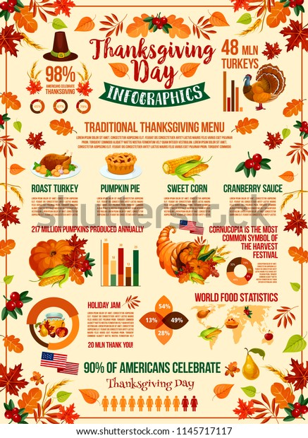 Thanksgiving Day Holiday Infographic Design Autumn Stock Vector